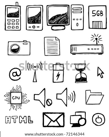 Hand drawn computer icon set - stock vector