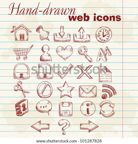 Hand drawn computer web icons on a grunge sheet paper background - stock vector