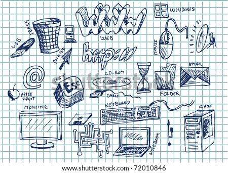 hand drawn computers - stock vector