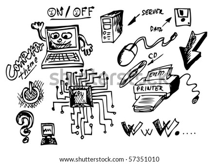 hand drawn computers icons - stock vector