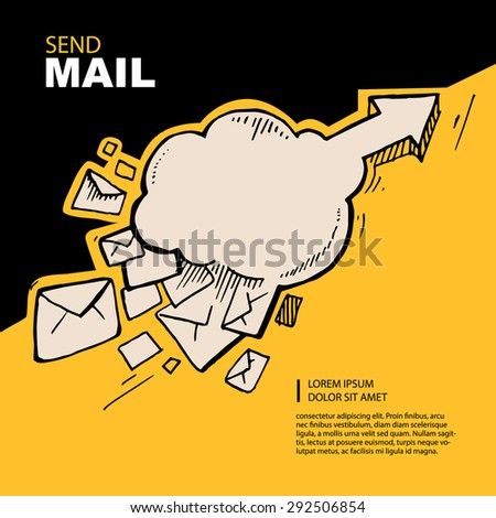 Hand drawn concept picture with flying of big letters to top direction. - stock vector