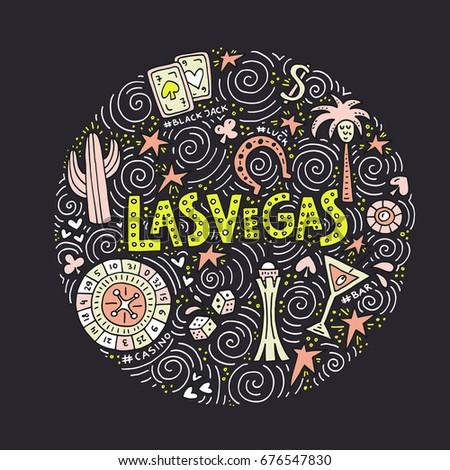 Hand Drawn Concept Symbols Las Vegas Stock Vector 676547830
