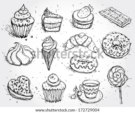 Hand drawn confectionery set croissant Cupcake candy marshmallow ice cream cake donut and coffee. vector - stock vector