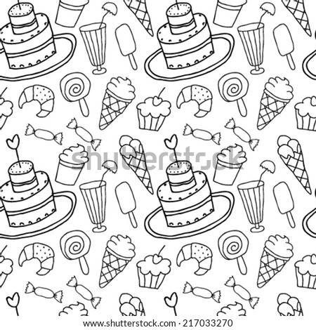 Hand Drawn Confectionery Sweet Seamless - stock vector
