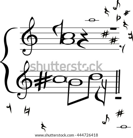 "Hand drawn congratulation card with sign ""Be Happy"" in music stave style isolated on white background. Vector"
