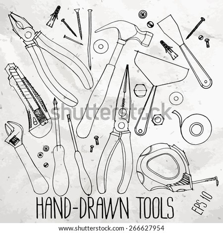 Hand drawn construction tools on craft paper. Cutter, screwdriver, pliers, adjustable wrench, bolt, screw, nut, scotch tape, measuring tape, hammer, dowel nail. Vector doodle  set - stock vector