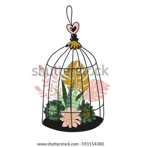 hand drawn contained tropical house plants vector print design birds cage with tropical plants