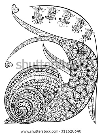 Hand drawn contented Snail and flower for adult anti stress Coloring Page with high details isolated on white background, illustration in zentangle style. Vector monochrome sketch. Animal collection.
