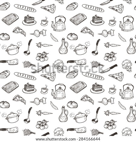 Hand drawn cooking doodle set texture