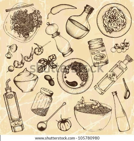 Hand drawn cooking food set - stock vector