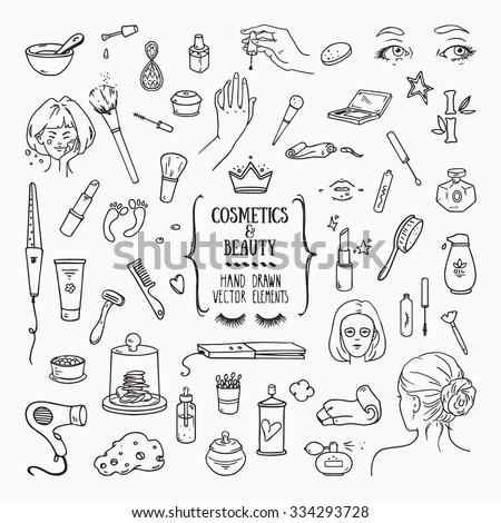 Hand drawn cosmetics products. Collections of skin health and beauty illustrations, spa salon and self-care signs. Isolated vector set. - stock vector