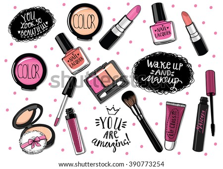 Hand drawn cosmetics set. Nail polish, mascara, lipstick, eye shadows, brush, powder,  lip gloss, handwritten lettering - stock vector