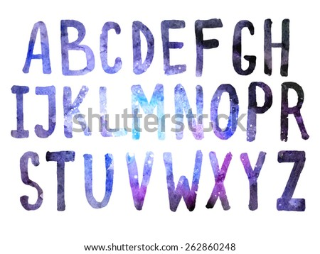 hand drawn cosmos alphabet made in vector; ABC space - stock vector