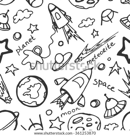Hand drawn cosmos doodle seamless pattern, excellent vector illustration, EPS 10 - stock vector