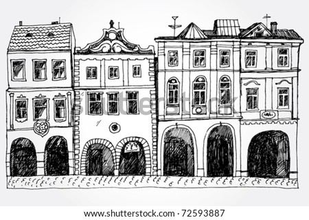 Hand Drawn Cozy Street - stock vector