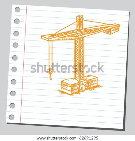 Hand drawn crane - stock vector