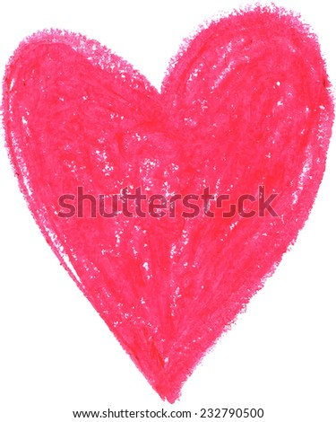 Hand drawn crayon heart on white background - stock vector