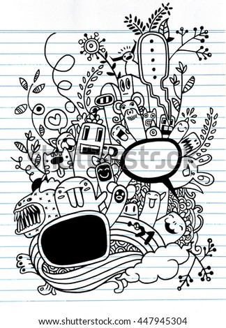 Hand drawn Crazy doodle Monster and flower,drawing style.Vector illustration.