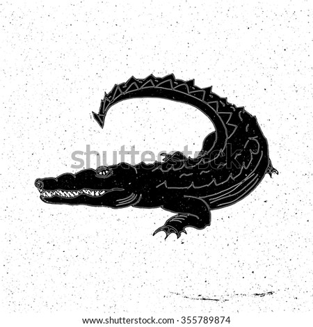 Hand drawn crocodile in grunge style, can be used as a print on a t-shirt, textile, background, sign for the farm, tattoo, poster zoo - stock vector