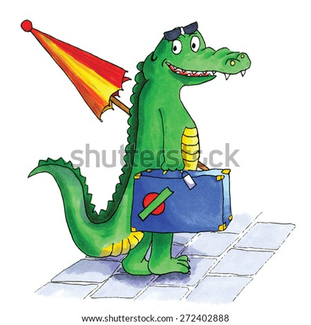 Hand drawn crocodile traveling in summer - stock vector