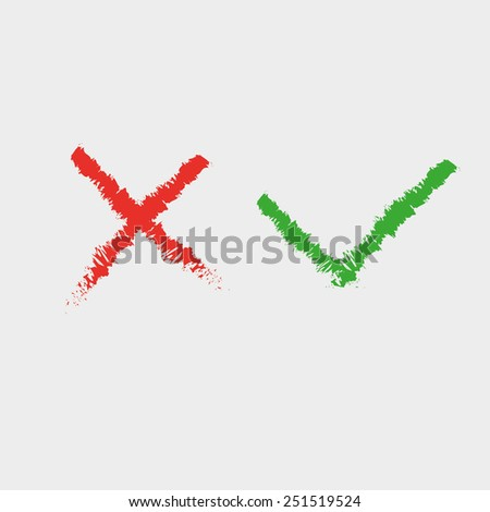 Hand drawn cross and hook, check Mark Icons  - stock vector