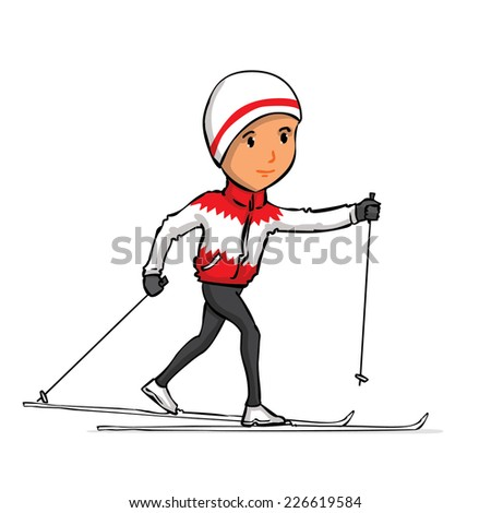 Hand drawn cross country skier. Vector cartoon illustration. Isolated on white. - stock vector