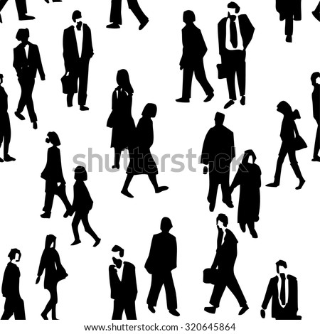 hand drawn crowd people seamless background