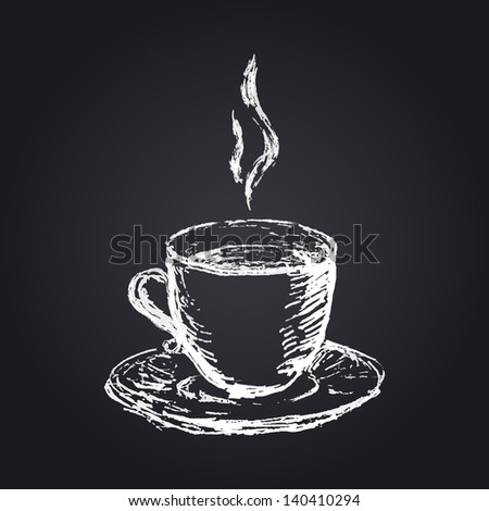 hand drawn cup icon on blackboard background - stock vector