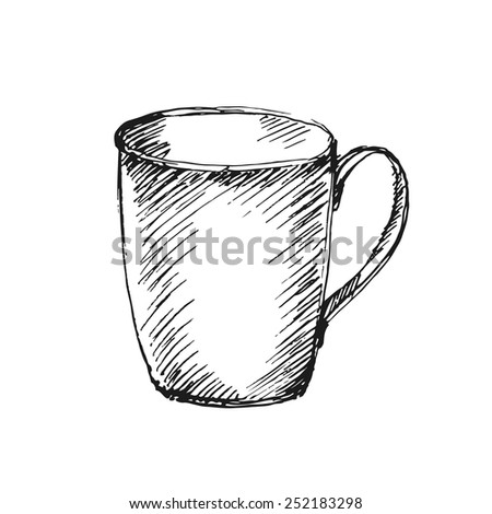 Hand drawn cup on white background. Vector illustration. - stock vector