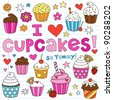 Hand-Drawn Cupcakes Dessert Notebook Doodle Design Elements Set on Lined Sketchbook Paper Background- Vector Illustration - stock vector