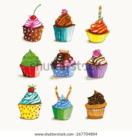 Hand drawn cupcakes with colorful butter cream isolated over white background