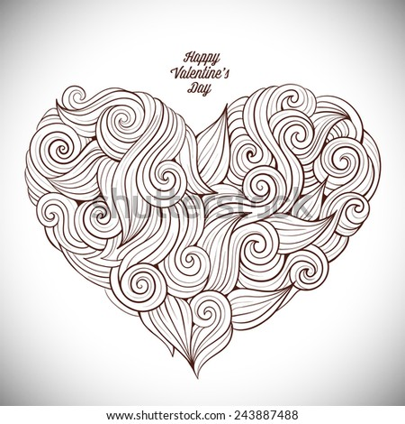 Hand drawn curled vector heart - stock vector