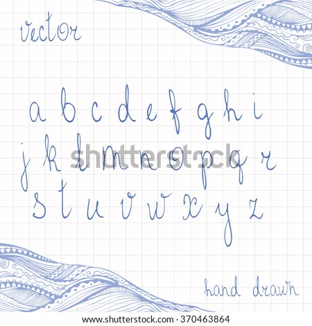 Hand drawn cursive alphabet. Set of ABC letters doodle script. Zentangle border added. Handmade scribble calligraphy. Deep blue ink pen imitation. Vector is EPS8. - stock vector