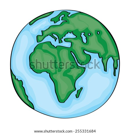 Hand drawn cute cartoon earth europe. Vector - stock vector