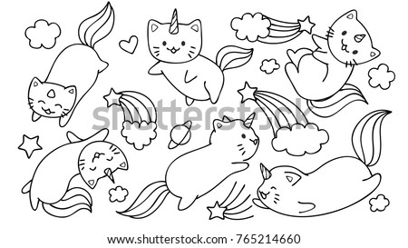 Hand Drawn Cute Unicorn Cats Flying Stock Vector (2018) 765214660 ...