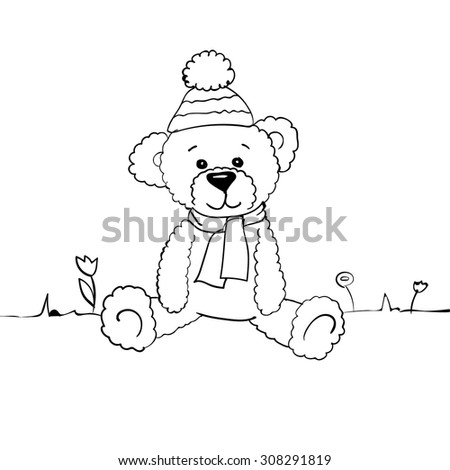 Hand Drawn Cute Vector Bear Template Stock Vector 308291819 ...