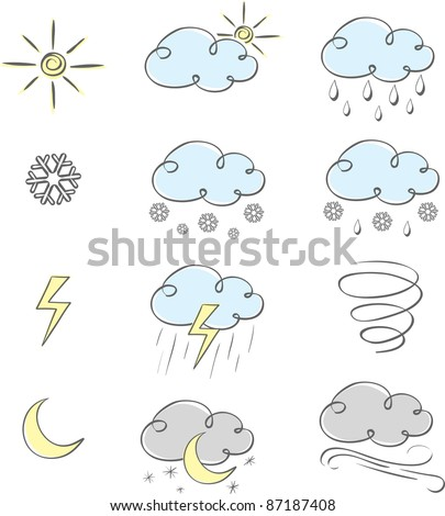 Hand drawn cute weather icons collection - stock vector