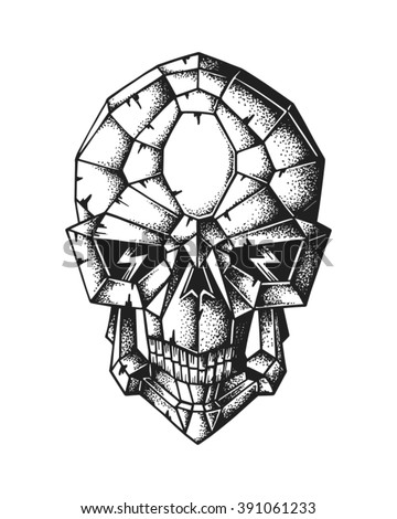 Hand drawn cyborg skull. Vector illustration