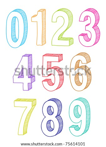 hand drawn 3d numbers - stock vector