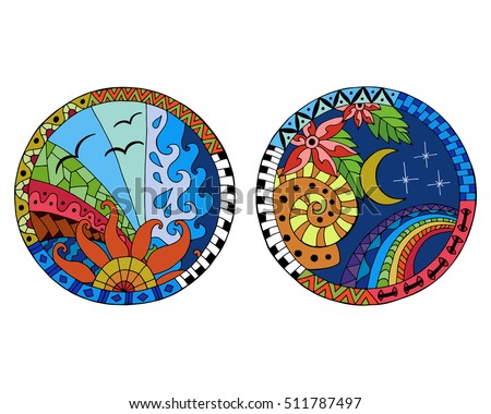 Hand drawn day and night circle mandalas for anti stress coloring page. Pattern for coloring book. Made by trace from sketch. Illustration in zentangle style. Colorful variant.