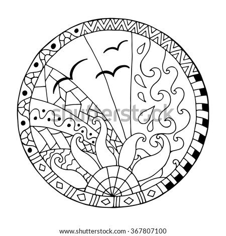 Hand drawn day circle mandala for anti stress coloring page. Pattern for coloring book. Made by trace from sketch. Illustration in zentangle style. Monochrome variant. - stock vector