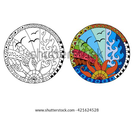 Hand drawn day circle mandalas for anti stress coloring page. Pattern for coloring book. Made by trace from sketch. Illustration in zentangle style. Monochrome and color variants. - stock vector