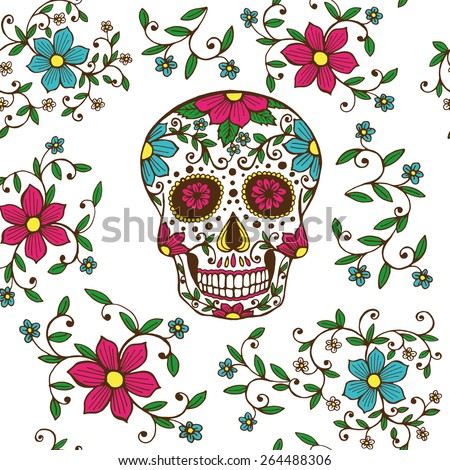 hand drawn day dead colorful sugar stock vector royalty free
