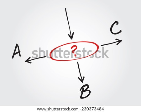 Hand drawn decide which way to go? Vector chart, diagram - stock vector