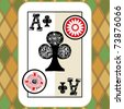 hand drawn deck of cards, doodle ace of clubs - stock photo