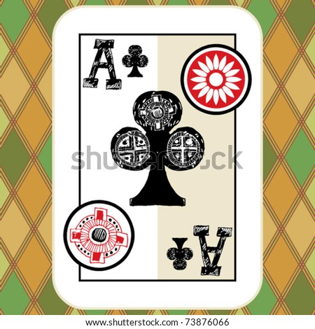 hand drawn deck of cards, doodle ace of clubs - stock vector
