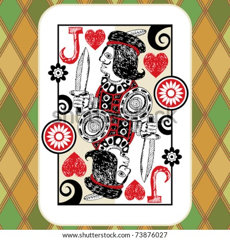 hand drawn deck of cards, doodle jack of hearts - stock vector