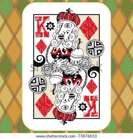 hand drawn deck of cards, doodle king of diamonds