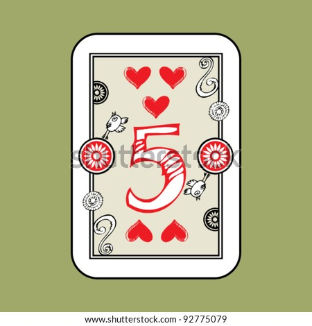 hand drawn deck of cards, doodle 5 of hearts - stock vector