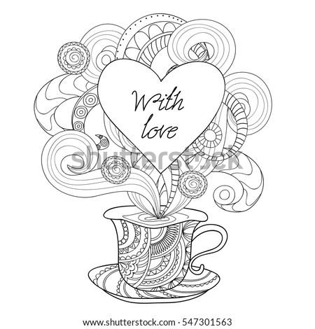 Hand drawn decorated cup zen style stock vector 547301563 hand drawn decorated cup in zen style print for valentine card invitation save stopboris Gallery